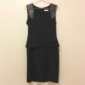Calvin Klein black sleeveless peplum sheath dress
